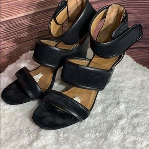 Report signature black leather strappy heels